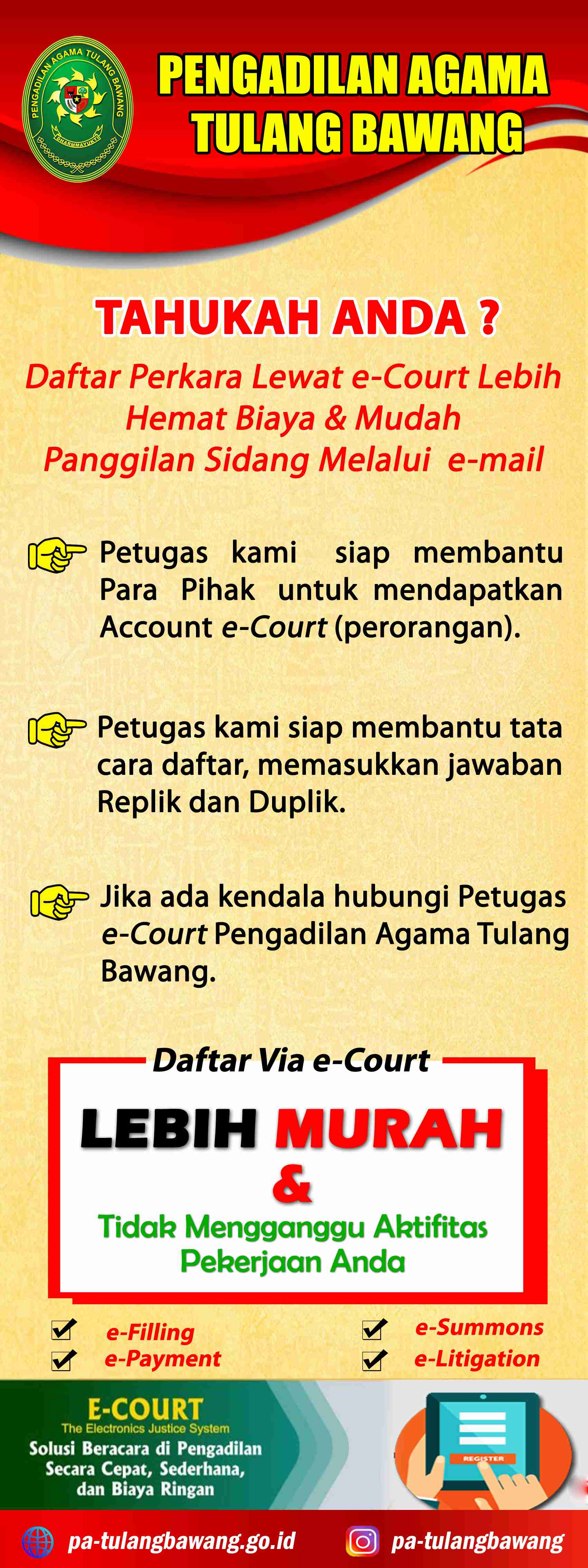 Pendaftaran online Pengadilan Agama Tulang Bawang
